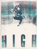 Skateboarding HIGH in 3D (red and blue) Wall Decal by  Junk Food