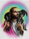 Airbrush Style Jesus-Looking Fella with a Little Black Lamb Autocollant par  Junk Food