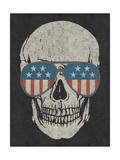Skull and American Flag Shades Metal Print by  Junk Food