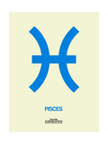Pisces Zodiac Sign Blue Poster by  NaxArt