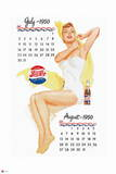 Pepsi - Vintage Pepsi Girl; 1950 Calendar: July and August Wall Decal