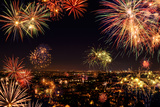 Whole City Celebrating with Fireworks Photographic Print by  Smileus