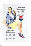 Pepsi - Vintage Pepsi Girl; 1950 Calendar: March and April Wall Decal