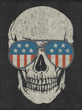 Skull and American Flag Shades Muursticker van  Junk Food