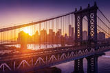 New York City - Beautiful Sunset over Manhattan with Manhattan and Brooklyn Bridge Photographic Print by  dellm60