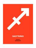 Sagittarius Zodiac Sign White on Orange Posters by  NaxArt
