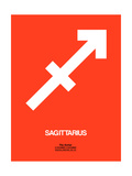 Sagittarius Zodiac Sign White on Orange Posters