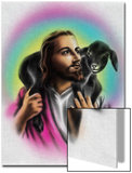 Airbrush Style Jesus-Looking Fella with a Little Black Lamb Prints by  Junk Food