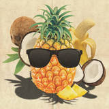 Tropical Medley - Pineapple Wearing Sunglasses Wall Decal by  Junk Food
