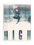 Skateboarding HIGH in 3D (red and blue) Art sur métal  par  Junk Food