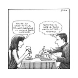 On a date, a woman compliments the man's listening, while the man thinks a… - New Yorker Cartoon Premium Giclee Print by Harry Bliss