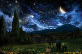 星月夜(糸杉と村) 1889年 高品質プリント
