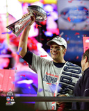 Tom Brady with Lombardi Trophy New England Patriots Super Bowl XLIX Photo