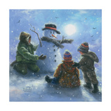 Snowman and 3 Boys Art by Vickie Wade