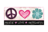 Peace Love Happiness Prints by Jennifer Pugh