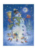 Snowman's Feathered Fun Art by Donna Race