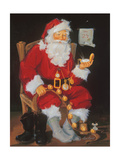 Santa in Chair Posters by Susan Comish