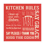 Kitchen Rules - Red Square Prints by Stephanie Marrott