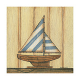 Blue Stripe Sailboat Posters by Kim Lewis