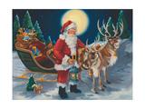 Père Noël avec lanterne Affiches par Susan Comish