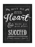 Chalkboard Psalm 20:4 Poster by Jennifer Pugh