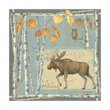 Moose on Blue Prints by Anita Phillips