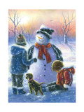 Chubby Snowman Boy and Girl Poster by Vickie Wade