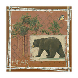 Bear on Red Poster by Anita Phillips