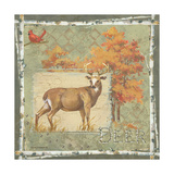 Deer on Green Prints by Anita Phillips