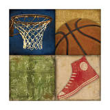 Basketball 4 Patch Prints by Stephanie Marrott