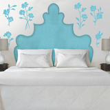 Shaped Turquoise Headboard with Flowers Transfer Wall Decal