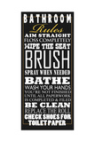 Bathroom Rules Poster by Jim Baldwin
