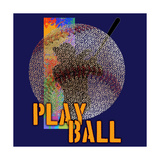 Play Baseball (Blue) Print by Jim Baldwin