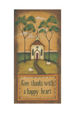 Give Thanks with a Happy Heart Poster by Kim Lewis