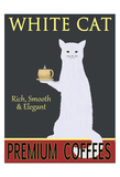White Cat Premium Coffees Giclee Print by Ken Bailey