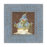 Blue Tin Snowman II Poster by Jo Moulton