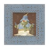 Blue Tin Snowman II Premium Giclee Print by Jo Moulton