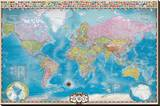 Map of the World with Flags Stretched Canvas Print