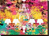 Neon Chandelier I Stretched Canvas Print by Miranda York