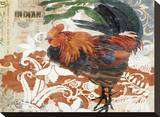 Rococo Rooster Stretched Canvas Print