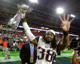 Brandon Bolden with the Vince Lombardi Trophy Super Bowl XLIX Photo