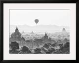 Balloon Over Bagan at Sunrise, Mandalay, Burma (Myanmar) Framed Photographic Print by Nadia Isakova