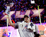 Rob Gronkowski with the Vince Lombardi Trophy Super Bowl XLIX Photo