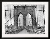 Pedestrian Walkway on the Brooklyn Bridge Framed Photographic Print by  Bettmann