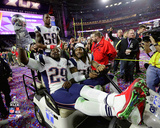 LeGarrette Blount, Brandon Bolden, & Darius Fleming with the Vince Lombardi Trophy Super Bowl XLIX Photo