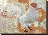White Rooster Stretched Canvas Print