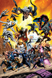 X-Men No. 29: Storm, Cyclops, Psylocke, Jubilee, Wolverine, Spider-Man, Mr. Fantastic, Dr. Doom Lámina