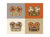 Retro Reel to Reel Tape Recorder Icon Print by  YasnaTen