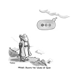 TITLE: MOSES AWAITS THE WORD OF GOD Moses looks at the Iphone elipsis sign… - New Yorker Cartoon Premium Giclee Print by Benjamin Schwartz