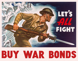 War Bonds - Let's All Fight Tin Sign